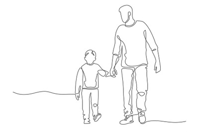 One line father. Dad walking with son. Fatherhood poster with man and