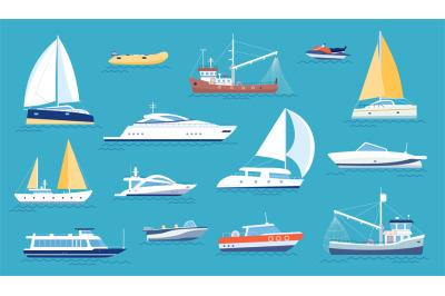 Yachts and sailboats. Small sea transport, motorboat and fishing ship.