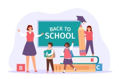 Back to school. Happy teacher meet students with bags, books and penci