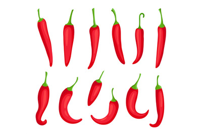 Chili peppers. Cartoon spicy hot red pepper. Cayenne and capsaicin spi