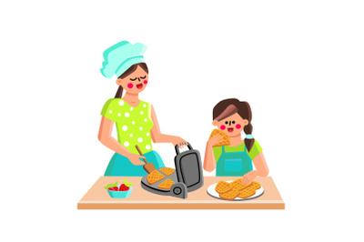Waffle Maker Device For Cooking Cookies Vector