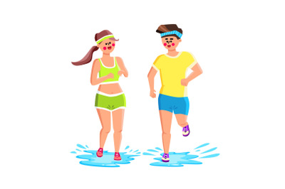 Water Shoes Wear Sportspeople For Running Vector