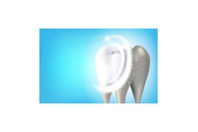 Pro Teeth Whitening Creative Promo Banner Vector