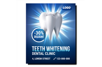 Teeth Whitening Procedure Promotion Poster Vector