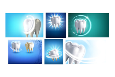 Teeth Whitening Promotional Posters Set Vector
