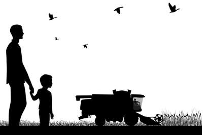 Combine-harvester on field