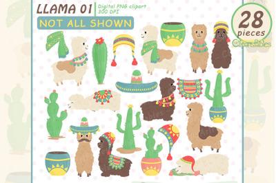 Cute LLAMA clipart, Alpaca clip art, Colorful design for kids