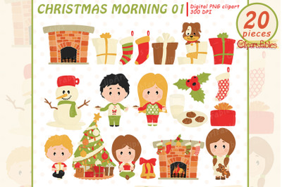 Cute CHRISTMAS MORNING clipart, Children in christmas pajamas clip art