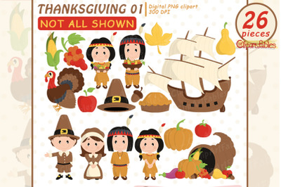 Happy THANKSGIVING Day clipart, Scrapbooking, Turkey clipart