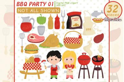 Cute BBQ party, BARBECUE clip art, Picnic, Grill food