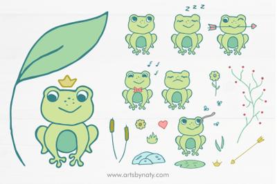 Cute little frog SVG illustration set.