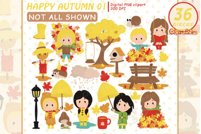 Cute AUTUMN party clipart, Playing in Leaves clip art, Pumpkin
