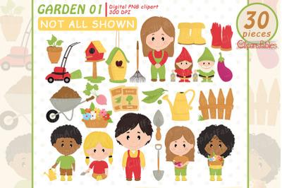 Cute GARDEN clipart, Kids in the garden, Garden equipments