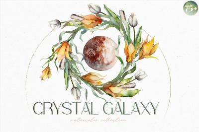 CRYSTAL GALAXY PLANETS-watercolor set