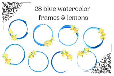 Blue watercolor circle frames with lemons