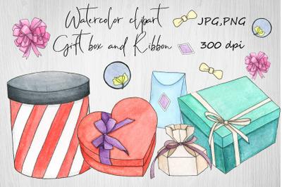Watercolor Clipart Gift box and ribbon.Birthday,celebration
