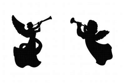 angels with trumpets svg, clipart, png, dxf logo