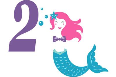 Mermaid  svg , Birthday Mermaid SVG ,  2 nd Birthday svg , Mermaid Gir