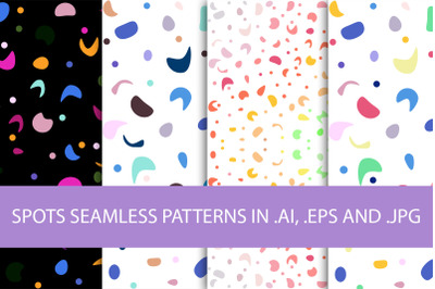 4 seamless patterns with bright abstract spots