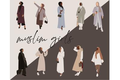 muslim girl, hijab clipart, women illustration, african american, blac