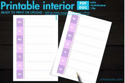 Simple lavender weekly to-do list KDP planner.