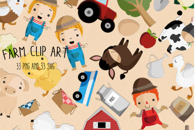 Farm Clipart SVG | Set of 33 | Instant download files | Farmer digital