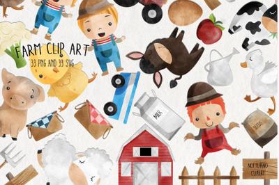 Watercolor Farm Clipart  | Set of 33 |