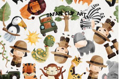 Watercolor Safari Clipart| Set of 27
