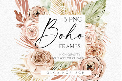 Watercolor boho floral frame, Dried flower logo png, Tropical watercolor clipart with dried palm leaves for wedding invitation, baby shower