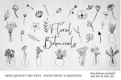 Botanical Clipart Hand Drawn Floral Leaves Leaf Flowers SVG