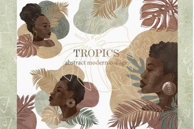 Tropics modern clipart. Beige, green, terracotta. Abstract Modern Shap