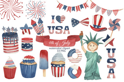 4th of July watercolor clipart, Independence day PNG, USA Patriotic cl