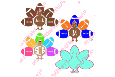 Boy Girl Monogram Name Football Thanksgiving Turkey design: SVG, PNG cut files for Silhouette, Cricut using vinyl, HTV, glass, fabric, paper