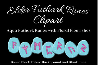 Aqua Flourish Elder Futhark Runes Set - Clipart Images