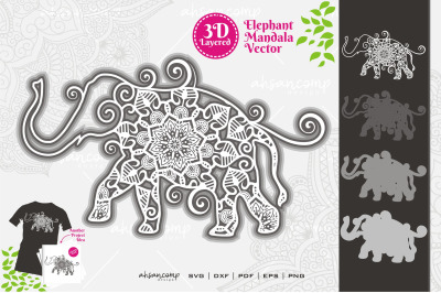 Elephant #11 Mandala Vector 3D Layered