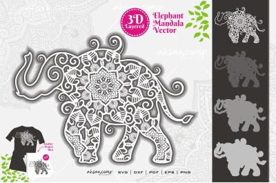 Elephant #12 Mandala Vector 3D Layered