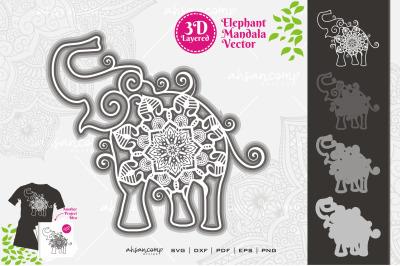 Elephant #13 Mandala Vector 3D Layered