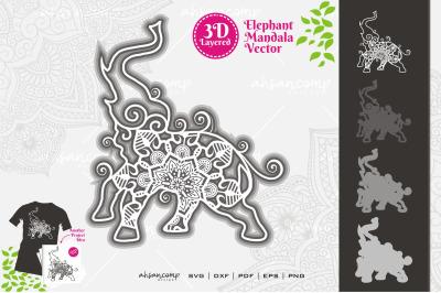 Elephant #14 Mandala Vector 3D Layered