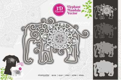 Elephant #15 Mandala Vector 3D Layered