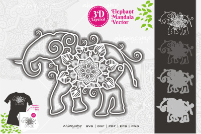 Elephant #16 Mandala Vector 3D Layered