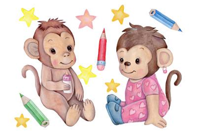 Cute Baby Monkeys. Watercolor llustrations.