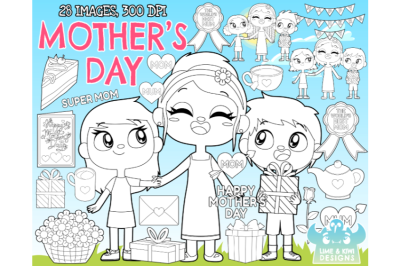 Mother's Day Digital Stamps - Lime and Kiwi Designs