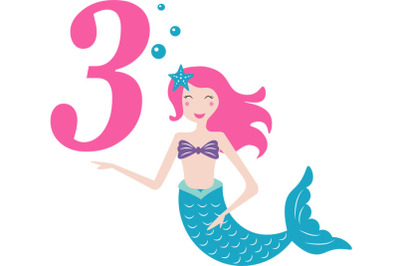 Mermaid  svg , Birthday Mermaid SVG ,  3 rd Birthday svg , Mermaid Gir