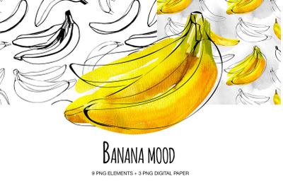 Banana set digital clipart Watecolor and ink