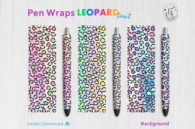 Rainbow Leopard Print Pen Wraps PNG File Set, Pen Wrap