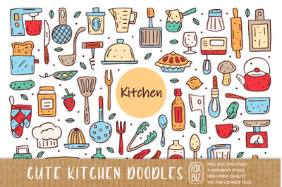 Kitchen elements cute doodle hand drawn vector cliparts