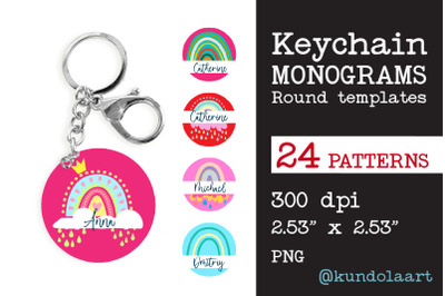 Monograms Keychain Sublimation Rainbow Design, Key ring