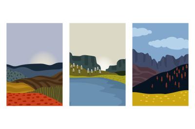 Autumn landscapes cards