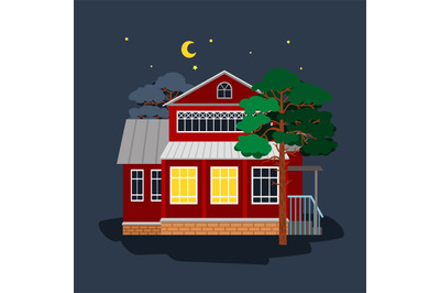 House in star night