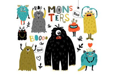 Cartoon furry monsters